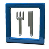 Blue food / restaurant icon 3d Royalty Free Stock Image
