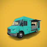 Blue food truck. Blue fast food truck on warm yellow background, template with copy space, clipping path stock photos