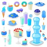 Blue food vector bluish cake with blueberry and sweet dessert with blueish drinks illustration cyan set of aquamarine vector illustration