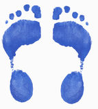 Blue foot prints. Two painted footprints isolated on white background Stock Images