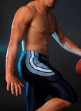 Blue football heismann pose. Male football player in blue football pants Stock Photography