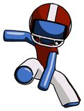 Blue Football Player Man action hero jump pose. Toon Rendered 3d Illustration Royalty Free Stock Image