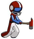 Blue Football Player Man with ax hitting, striking, or chopping. Toon Rendered 3d Illustration Stock Photography
