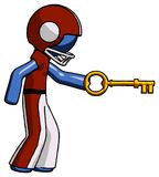 Blue Football Player Man with big key of gold opening something. Toon Rendered 3d Illustration Stock Photography