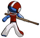 Blue Football Player Man bo staff action hero kung fu pose. Toon Rendered 3d Illustration Stock Images