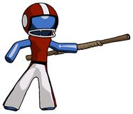Blue Football Player Man bo staff pointing right kung fu pose. Toon Rendered 3d Illustration Stock Image
