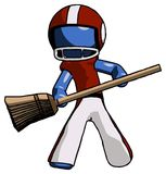 Blue Football Player Man broom fighter defense pose. Toon Rendered 3d Illustration Royalty Free Stock Photo
