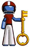 Blue Football Player Man holding key made of gold. Toon Rendered 3d Illustration Royalty Free Stock Photos