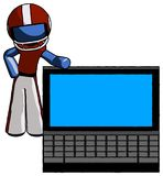Blue Football Player Man beside large laptop computer, leaning a vector illustration