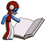 Blue Football Player Man reading big book while standing beside. It - Toon Rendered 3d Illustration Stock Photo