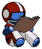 Blue Football Player Man reading book while sitting down. Toon Rendered 3d Illustration Stock Image