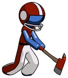 Blue Football Player Man striking with a red firefighter`s ax. Toon Rendered 3d Illustration Stock Photography