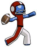 Blue Football Player Man throwing football. Toon Rendered 3d Illustration Stock Photography