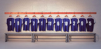 Blue Football Shirts Royalty Free Stock Photos
