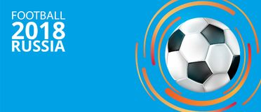 Football 2018 Russia background with soccer ball. Blue football world cup 2018 Russia background with soccer ball. Vector sport illustration Royalty Free Stock Image