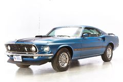 Blue ford mustang mach one on white background. 1969 Ford Mustang Mach 1 428 SCJ Fastback Super Cobra Jet engine with a 4-speed and Drag Pack rear end. isolated Royalty Free Stock Photo