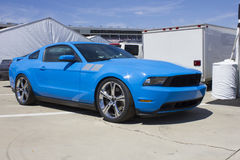2014 Blue Ford Mustang Saleen. 2014 Ford Mustang Saleen edition.  Grabber Blue automobile with silver racing stripes Royalty Free Stock Photo