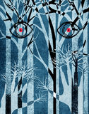 Blue forest with eyes and hands Stock Photos