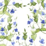 Blue forest flowers background. Hand drawn watercolor illustration. Blue forest flowers and green leaves on white background. Hand drawn watercolor illustration vector illustration