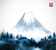 Free Blue Forest Trees And Fujiyama Mountain In Fog Hand Drawn With Ink. Traditional Oriental Ink Painting Sumi-e, U-sin, Go Royalty Free Stock Photo - 114726715
