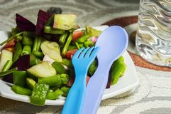 Blue Fork and green salad. Along with a spoon stock photos