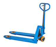 Blue fork hand pallet truck, isolated on white background. Blue manual hydraulic pallet truck fork, pump jack isolated on white background, saved path selection stock photos