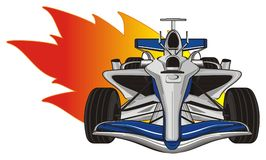Bolid and fire. Blue formula one and large orange fire Royalty Free Stock Images