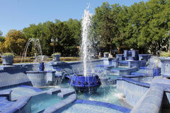 Fountain. Blue fountain in the city of Subotica, Serbia Stock Photos