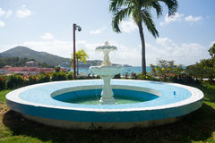Blue fountain overlooks Charlotte Amalie Stock Photos