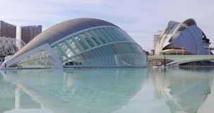 Blue fountain panorama valencia city of art 4k spain stock video footage