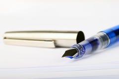 Blue fountain pen Royalty Free Stock Photos