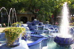 Blue Fountain in Subotica Royalty Free Stock Photos