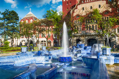 Blue fountain in Subotica town, Serbia Royalty Free Stock Photos