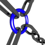 Blue Four Link Shows Connection and. Blue Four Way Link Showing Connection and Togetherness Stock Photo