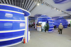 Blue foxconn booth. 
