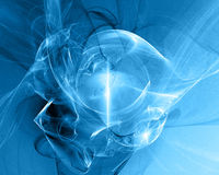 Blue fractal. Blue abstract fractal design against a blue gradient background Stock Photos
