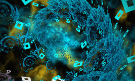 Blue Fractal. Cool Blue Fractal in the Space Royalty Free Stock Photo