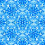 Blue fractal based seamless tile with a hexagon grid snowflake pattern. For Christmas or winter wrapping paper, cards, presents, gift tags, wallpaper, textiles Royalty Free Stock Photography