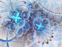 Blue fractal flowers Stock Image