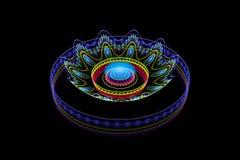 Blue fractal gas on black Royalty Free Stock Photo