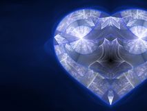 Blue fractal heart Royalty Free Stock Image