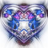 Blue fractal heart Stock Photo