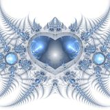 Blue fractal heart Royalty Free Stock Photo