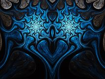Blue fractal heart. Valentine`s day motive, digital artwork for creative graphic design Stock Photography
