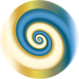 Blue fractal spiral. Blue and gold fractal spiral. Looks metal, shiny, useful as background Royalty Free Stock Image