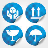 Blue Fragile Circle Stickers and Tags with Dot(Fra Royalty Free Stock Photo