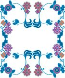 Blue frame. Consisting of blue flowers and leaves frame design Royalty Free Illustration