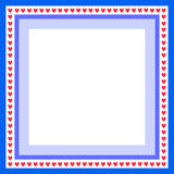 Blue frame. For greeting card with hearts Royalty Free Stock Photo