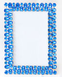Blue frame. Blue decorative frame with blue diamond ornaments Royalty Free Stock Image
