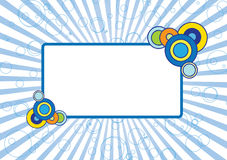 Blue frame. Picture frame or site banner with circles and rays vector illustration